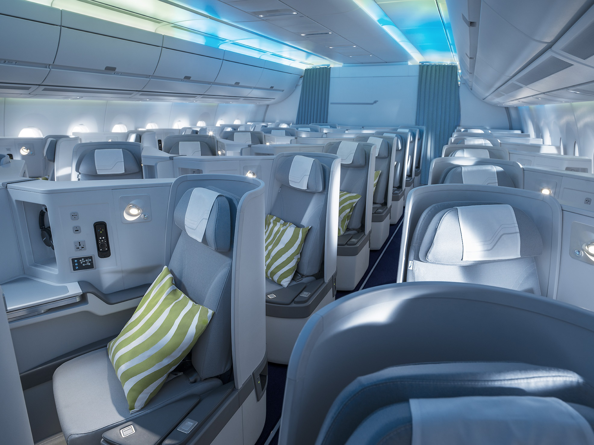 Finnair A350 business class cabin, Northern lights (1)